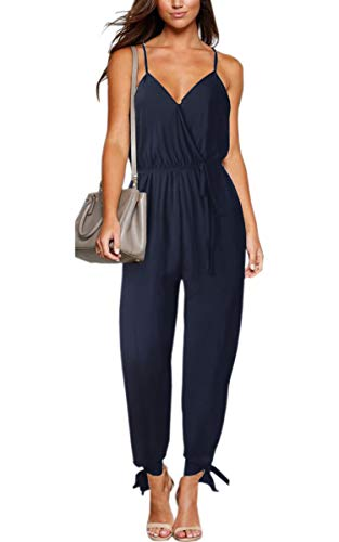 ECOWISH Women's V Neck Floral Print Spaghetti Strap Split Beam Foot Jumpsuit Rompers 047 Navy Blue XL]()