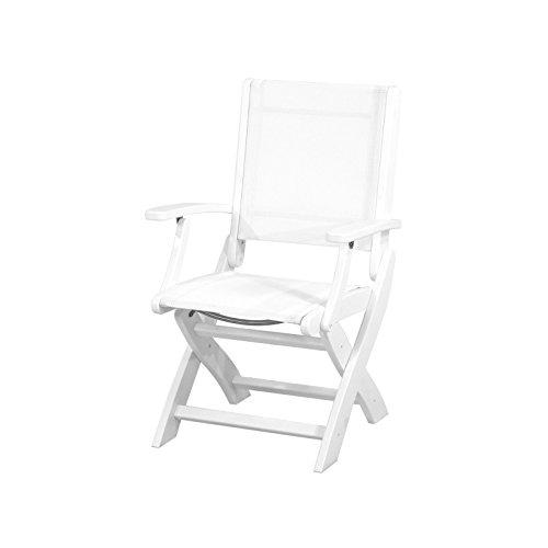 Polywood 9000-WH901 Coastal Folding Chair, White/White Sling