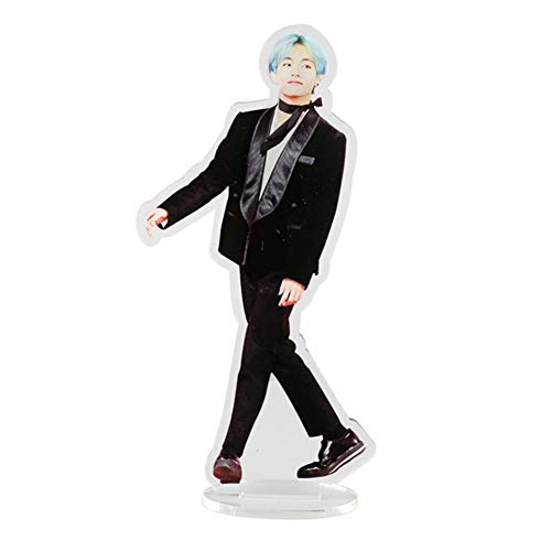 (Hosston BTS Standing Figure Model, Kpop Bangtan Boys Cute Cartoon PVC Stand Model Plate Holder Action Figure Display Stand Best Gift for A.R.M.Y( Style 04-V))