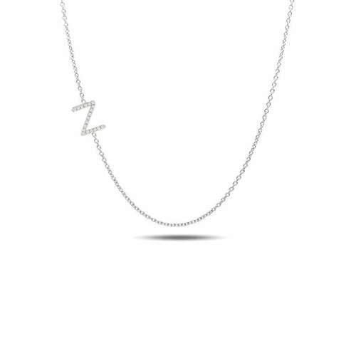 Sideways diamond initial necklace 14k gold A to Z