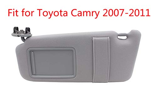 Left Driver Side Sun Visor Fit for 2007 2008 2009 2010 2011 Toyota Camry &Toyota Camry Hybrid 2007-2011Without Sunroof and Light-Gray (Sun Visor Driver)
