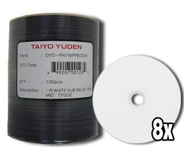 JVC (太陽誘電) DVD - R 8 Xホワイトインクジェット(ハブ印刷) 100パック B0089Y642W
