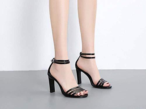 Prom Lanières Taille Chaussures Bloc Cheville Ghfjdo Black 40 35 Toe Open Les Slingback Party SandalesCasual Dames À Sangle Boucle Femmes Talon UzMVqpS