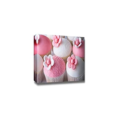 Canvas Prints Wall Art - Beautiful Pink Wedding Cupcakes, Modern Decor/Home Decor Stretched Gallery Wraps Giclee Print & Wood Framed, Ready to Hang, 32