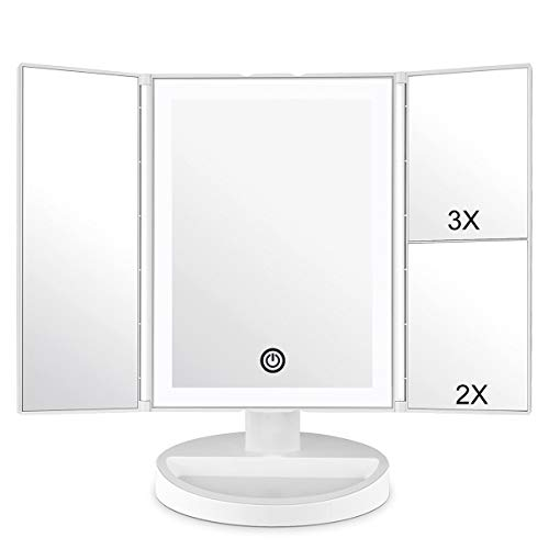 CZW Makeup Vanity Mirror with 3x/2x Magnification,Trifold Mirror with 36 Led Lights,Touch Screen, 180 Degree Adjustable Rotation,Dual Power Supply, Countertop Cosmetic Mirror (White) -