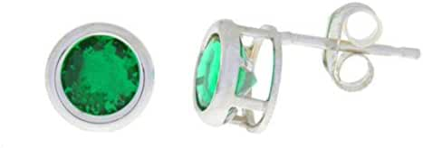 14Kt White Gold Simulated Emerald 5mm Bezel Round Stud Earrings