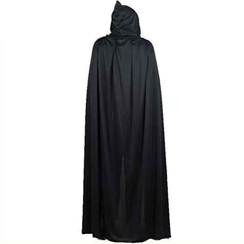 Hooded Cape Cloak Wizard Witch Vampire Masquerade Halloween Cosplay Costume - Grim Reaper Makeup