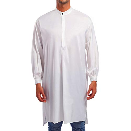 Zhhlinyuan Arabic Dress Long Top Shirt Thobe Muslim Men's Prayer Ethnic Robe
