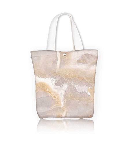 Ladies canvas tote bag natural onaxy marble reusable shopping bag zipper handbag Print Design W21.7xH14xD7 INCH