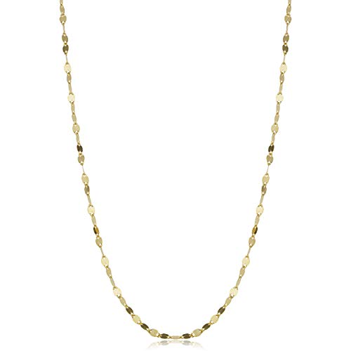 Kooljewelry 14k Solid Yellow Gold Flat Link Mirror Chain Necklace (1.9 mm, 24 inch)