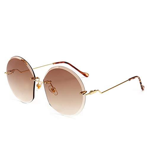 Runde Rahmenlose Sonnenbrille Damen Marke Designer Retro Mode Gradienten Sonnenbrille Neue Mode Frauen Brille Geschenke UV - (Lenses Color: 5605-1) (Retro Sonnenbrille Damen)