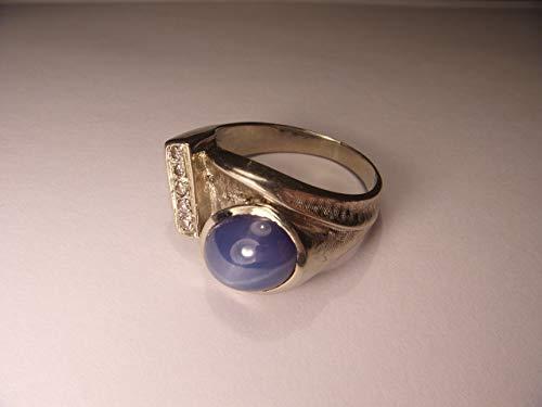 Handsome Estate 14K White Gold Star Sapphire Diamond Mens Ring Band