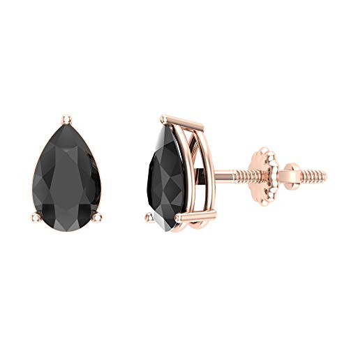 Black Diamond Earrings Pear Cut 14K Rose Gold Studs 2.00 carat total weight Screw Back Posts Natural Earth-mined) ()