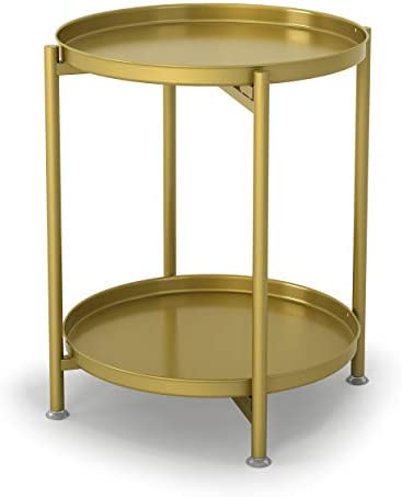 Metal End Table 2-Tier Side Table Round Coffee Table