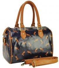 QQ1844 Blue - Popular Pattern Fox Bowler Oilcloth Bag
