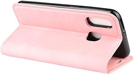 電話用BOYUHIIレザーケース ホルダー&カードスロット&財布(ブラック)とギャラクシーA40レトロスキンビジネス磁気吸引レザーケース用 ATCYE (Color : Pink)