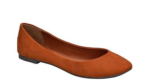 Toe Ts Ballet Flats Breckelles On Women's Tan Pointed Slip EWWz78q