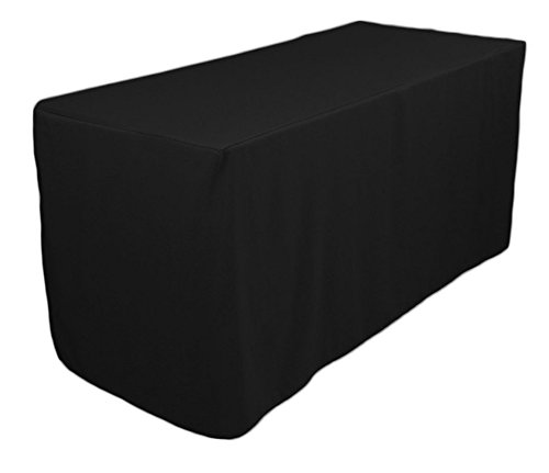 - TEKTRUM 4-Feet Long Fitted Table DJ Jacket Cover for Trade Show - Thick/Heavy Duty/Durable Fabric - Black Color (TD-JKT-BLK-4FT)