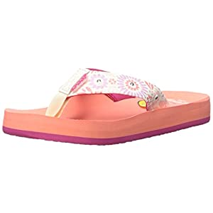 Reef Girls' Little Ahi Lights-K Sandal, Coral, 3/4 M US Toddler