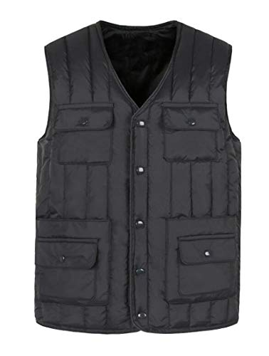 Jacket Vest Multi Pockets Outdoor Blue Quilted Men's Size Puffer Plus Cargo Down Padded security qPa7x