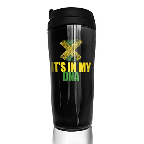 Martina Houston Jamaican Flag DNA Fingerprint Patriotic Mugs Tea Coffe Cups With Lid For Travel Camping Hiking Sports