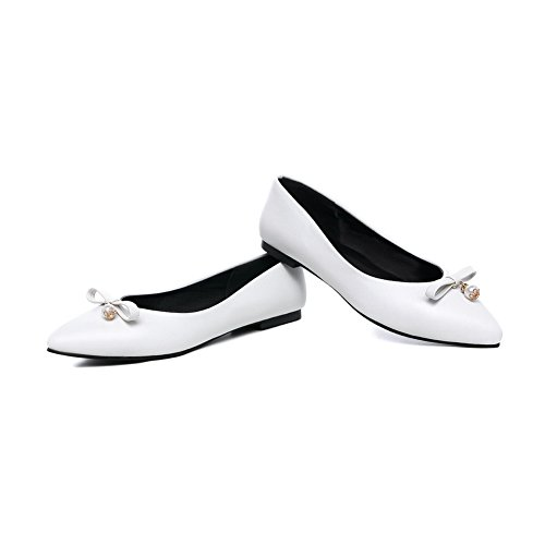 Balamasa Mujeres Bows Con Punta En Punta Charms Urethane Flats Zapatos Blanco