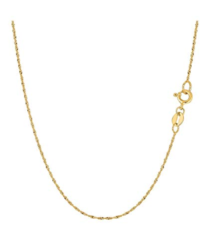 (Verona Jewelers 14K Yellow Gold Italian Singapore Chain Necklace Twisted Curb Link Necklace- Gold Pendant Chain 16 20 22 24 (16))