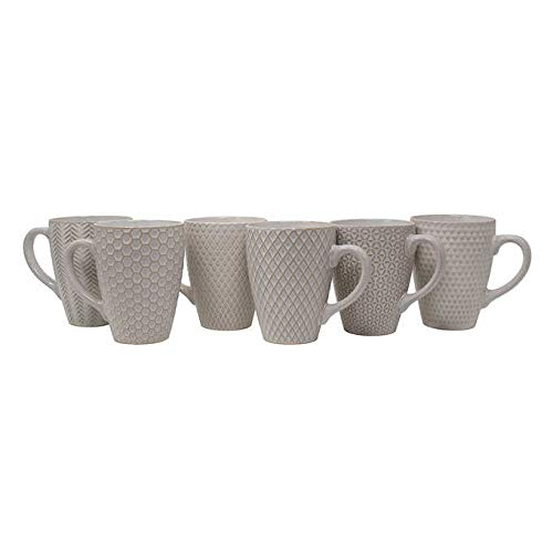 (Mikasa Gourmet Basics Balta Stoneware Mugs | Set of 6, 16 Ounce Cups | Perfect for Coffee, Tea, Cocoa | Antique White | Completely Lead-Free | Dishwasher and Microwave Safe)