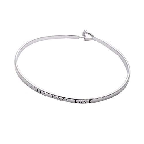 - SpinningDaisy Personal Mantra Message Cuff Hook Bracelet (Faith Hope Love-Silver)