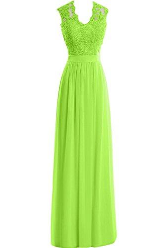 Elegant Spitze Damen Ausschnitt Applikation Abendkleid Grün Lang Chiffon Partykleid U Neu Missdressy Aemellos HdEwxXX