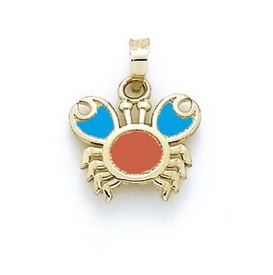 Émail 14 Carats Pendentif petit crabe JewelryWeb