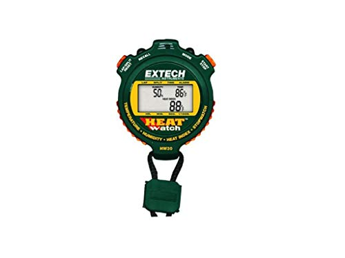 Extech HW30 HeatWatch Humidity/Temperature Stopwatch, Digital UP/DOWN Timer Displays Temperature and Humidity, User Adjustable Heat Index Alarm, 99 Lap Counter with 30 Lap/Split Memory