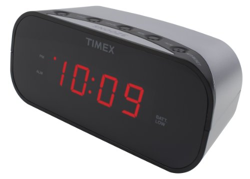 Timex T121S Alarm Clock with 0.7-Inch Red Display (Silver) ()