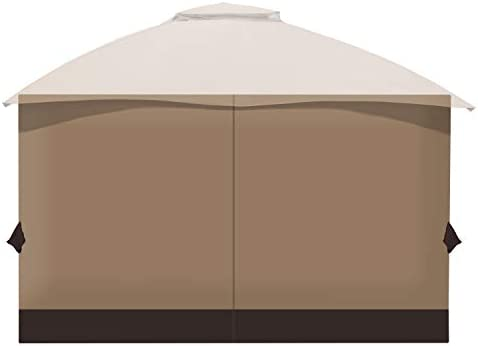 Aoodor 10' x 12' Gazebo Curtain Set Protecting Privacy Side Walls 4 Panels Curtain Only Fit Allen Roth GF-12S004B