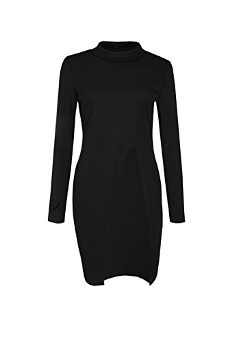 Las Mujeres Suéter De Manga Larga Jerseys De Split Black
