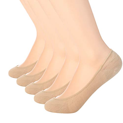 Ultra Low Cut Liner Socks Women No Show Non Slip Hidden Invisible for Flats Boat Summer 5 Pairs
