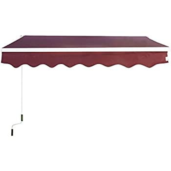 Goplus Manual Patio 8.2'×6.5' Retractable Deck Awning Sunshade Shelter Canopy Outdoor (Burgundy)