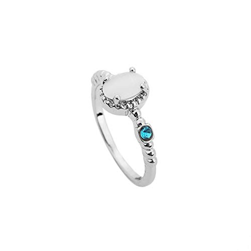 Boho Blue Crystal Fine Rings Natural Moonstone S925 Silver Gold Victorian Style Thin Ring Wedding Party Band Rings
