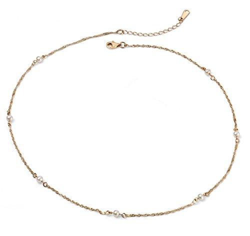 Jewellery World Bague en or jaune 9carats de chaîne-Collier Femme-Perle-Perle