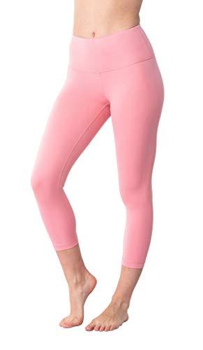 Soft Capris Pink - Yogalicious High Waist Ultra Soft Lightweight Capris - High Rise Yoga Pants - Sunset Blush - Small