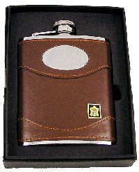 Personalised Plate Message (Personalised Brown Leather 6oz Hip Flask Set with Plate Marked with your own message FL30)