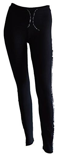 Private Island Hawaii UV Women Rash Guard Pants (Small, Black with Anaconda 1)