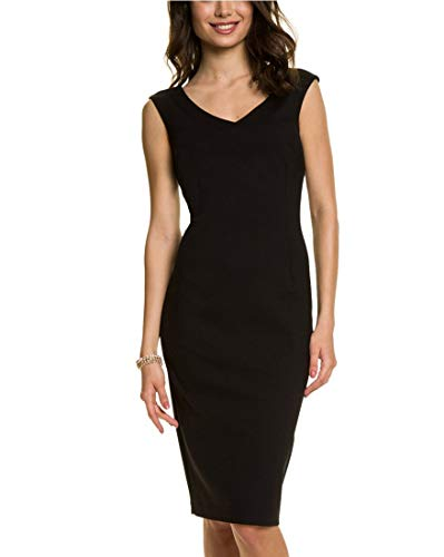LE CHÂTEAU Women's Ponte V-Neck Sheath (Womens Ponte V-neck Dress)
