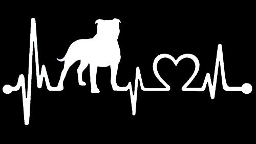 (Bluegrass Decals Pit Bull Non Cropped/Floppy Pitbull Heartbeat Lifeline Monitor Decal Sticker (White, 7.5