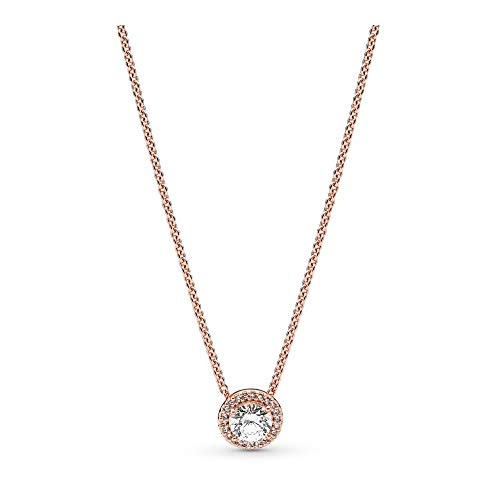 PANDORA - Round Sparkle Halo Necklace in PANDORA Rose with Clear Cubic Zirconia, 17.7 IN / 45 CM (Philippines Necklace)