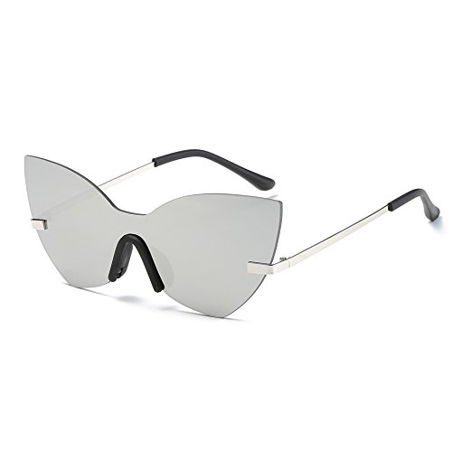 AOME One Piece Mirrored sunglasses, Butterfly Designer Cat Eye Sunglasses (Silver&Siver, - Big Eyes For Glasses Best