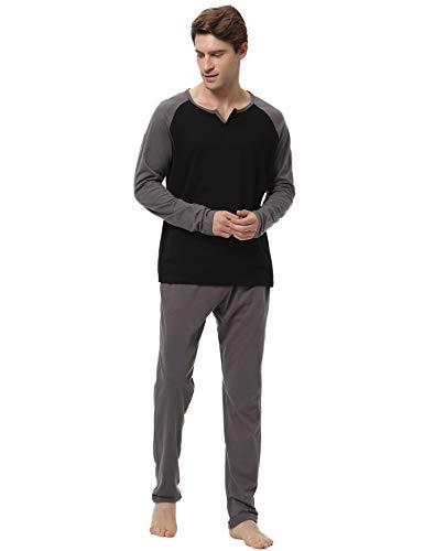 scollo 1 V Pigiama XL pezzi due lunga uomo Pigiama manica caldo con stile Aibrou da cotone Set a 100 Nero qTOPAOw