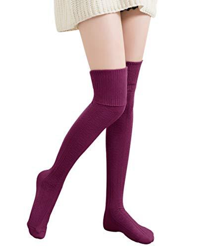 7e1e1186c44e5 Chalier Womens Long Socks Striped Thigh High Socks Cotton Over the Knee  Socks Boot Stockings Leg