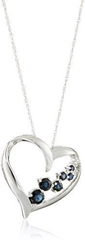 10K Sapphire and Diamond Heart Framed Pendant Necklace, - Heart Framed