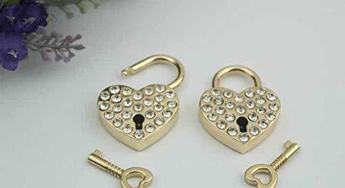 10pcs/lot Luggage hardware accessories Heart-shaped diamond padlock handbags lock luggage locks hardware metal accessories - (Color: Gold)